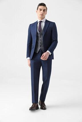 D'S Damat Erkek Lacivert Slim Fit Armürlü Kombinli Takım Elbise
