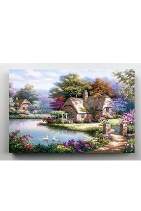 hanhomeart Orman Evleri Gölet Kanvas Tablo 60x120 cm