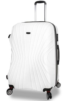 NK 1113 Abs Dayanıklı Büyük Boy Bavul Valiz Beyaz