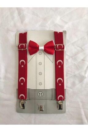 AR&ES tekstil Türk Bayrağı Pantalon Askı Ve Papyon Takım 1-8 Yaş