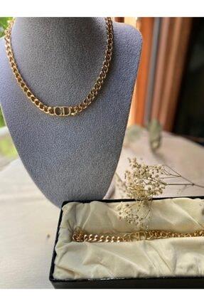 Muud Jewelry 14k Altın Kaplama Cd Harfli Dior Kolye Bileklik Seti