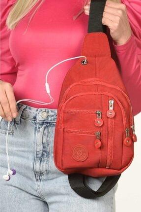 My free bag Kırmızı Kualklık Bölmeli Krınkıl Kumaş Çapraz Ve Omuz Kullanımlı Çanta