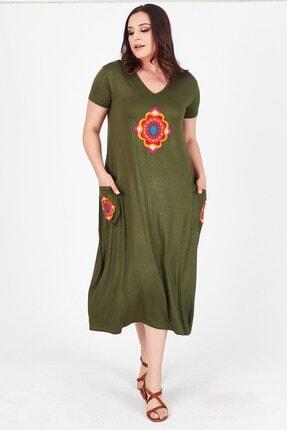 Womenice Kadın Haki V Yaka Önü Cebi Nakışlı Büyük Beden Elbise
