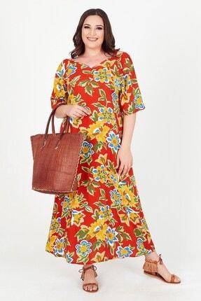 Womenice Kadın Turuncu Renkli Çiçek Desenli Büyük Beden Elbise