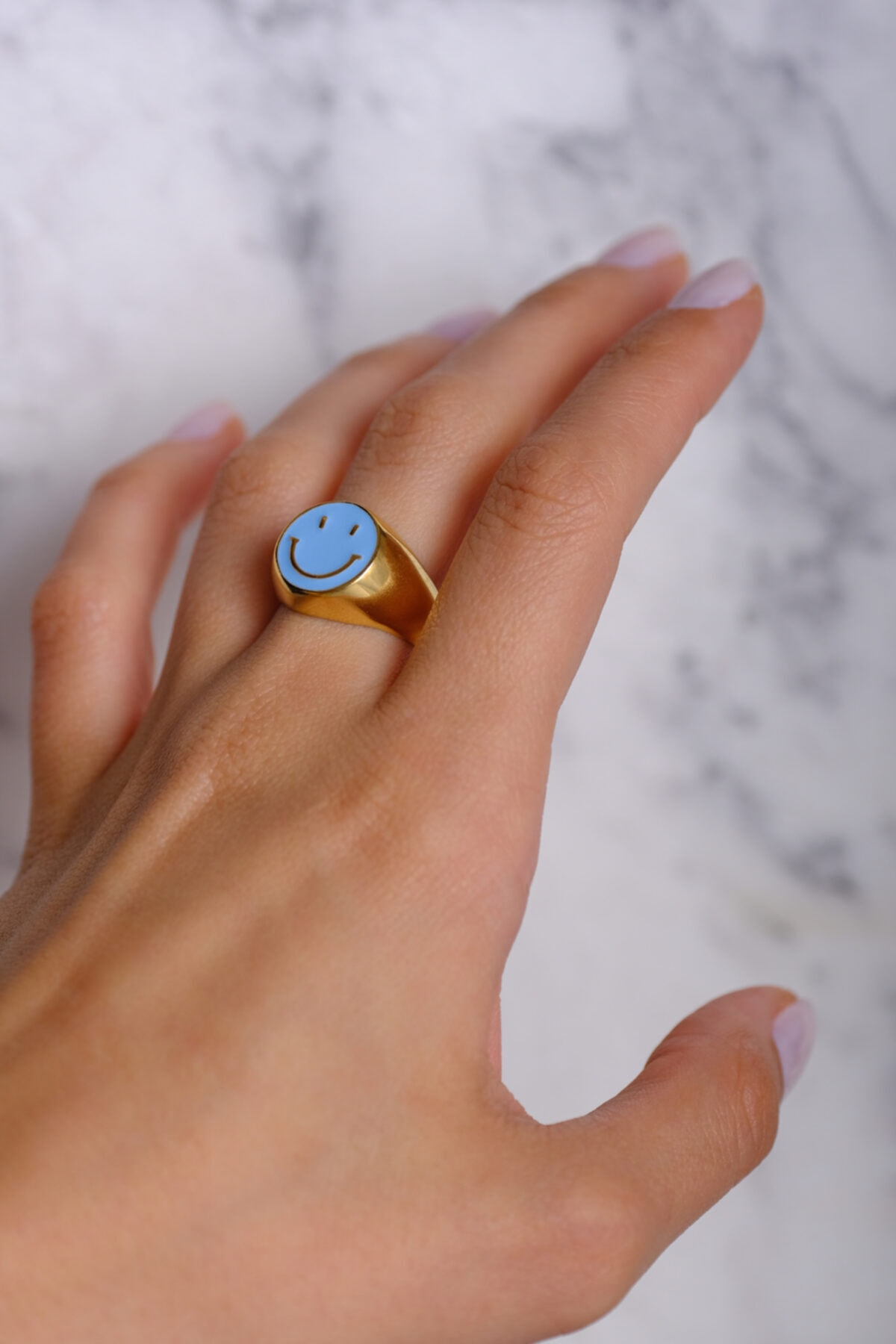 Venita Design Kadın Mavi Gülen Yüz Yüzük 2