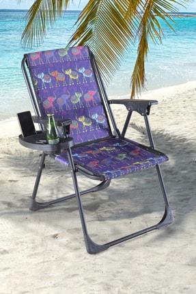 fullreyon Dijital Baskılı Bardaklıklı Kamp Deniz Piknik Sandalyesi Fil1