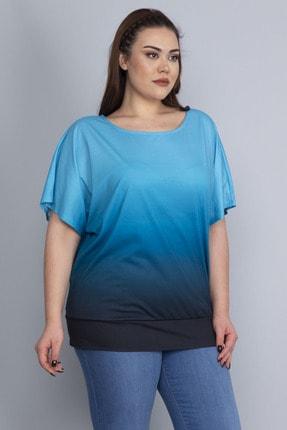 Şans Batik Desenli Düşük Kol Etek Ucu Bantlı Bluz