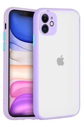 """Teknoçeri Iphone 11 6.1"""" Kenarları Renkli Kamera Korumalı Transparan Kılıf"""