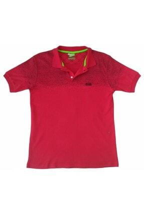 More Erkek Kırmızı Polo Yakalı Düğmeli Nokta Desenli Kısa Kollu Pamuklu Tişört