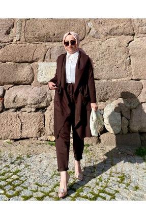 Leila Boutique KadınKahverengi Şalvarlı Takım