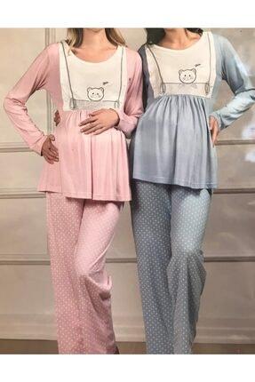 Haluk Bayram Kadın Mavi Pijama Takımı %100 Pamuk