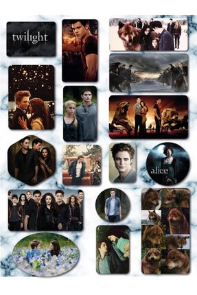 akcepazar Alacakaranlık Serisi Twilıght Bella Edward Robert Pattinson Jacob Alice 16 Adet Sticker Seti