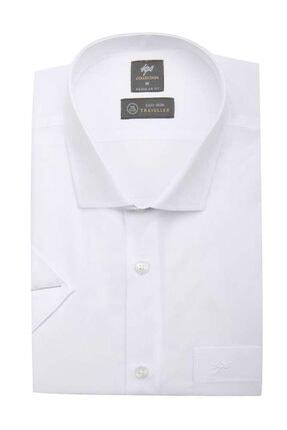 İgs Erkek Beyaz Regularfıt / Rahat Kalıp Std Gömlek Kısa Kol