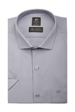 İgs Erkek Gri Regularfıt / Rahat Kalıp Std Gömlek Kısa Kol