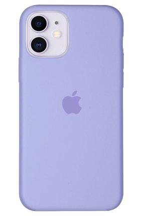 Apple Iphone 11 Kılıf Logolu Lansman Altı Kapalı Içi Süet - Lila + Popsocket