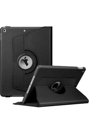 """Apple Ipad 10.2"""" 8. Nesil Standlı 360 Derece Döner Deri Kılıf Siyah"""