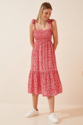 Happiness İst. Kadın Kırmızı Bağlamalı Askılı Desenli Yazlık Viskon Elbise DD00933
