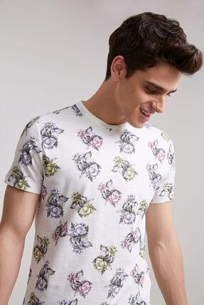 D'S Damat Twn Slim Fit Beyaz Baskılı T-shirt