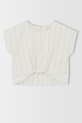 DeFacto Kız Çocuk Keten Görünümlü Kısa Kollu Bluz