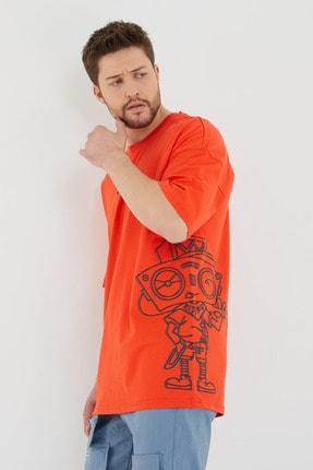 BREEZY Kırmızı Unisex Oversize Pamuklu Baskılı Tshirt Robot