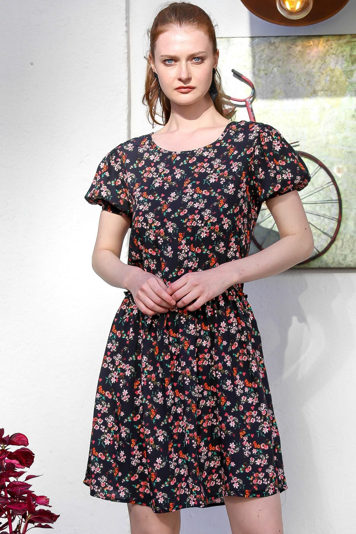 Chiccy Kadın Siyah Sıfır Yaka Karpuz Kol Fermuarlı Çıtır Çiçek Desenli Emprime Elbise M10160000El94792