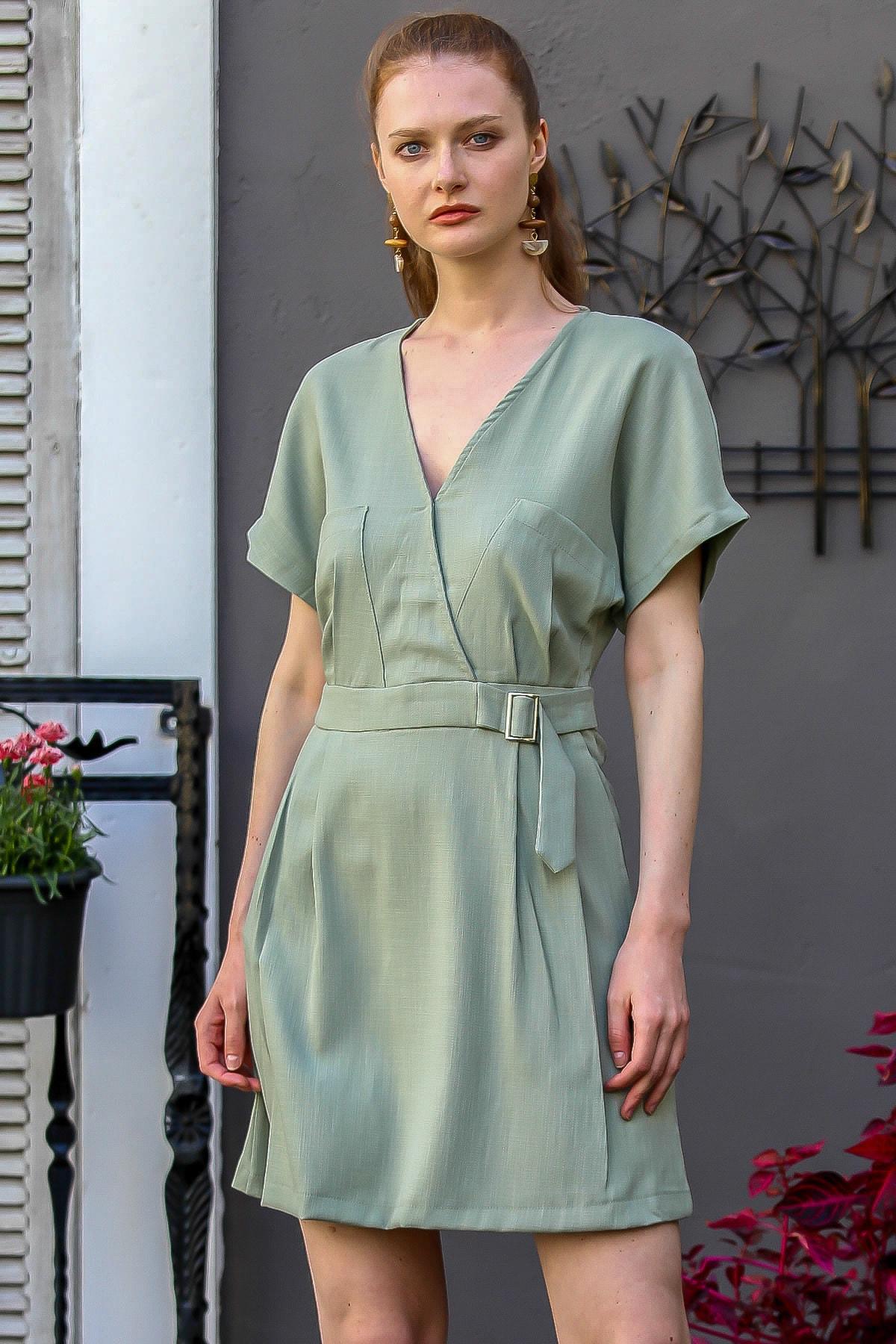 Chiccy Kadın Mint Kruvaze Cepli Düşük Kol Sırtı Fermuarlı Dokuma Elbise M10160000El94785