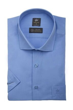İgs Erkek Mavi Regularfıt Rahat Kalıp Gömlek Kısa Kol