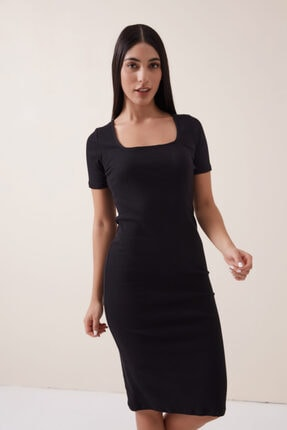 Gusto Kaşkorse Penye Elbise - Siyah