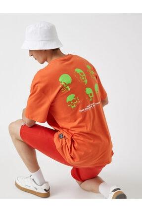 Koton Baskili T-shirt Bisiklet Yaka Pamuklu