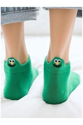 İkonik Socks Unisex 4 Çift Yeşil Emoji Nakışlı Patik Çorap