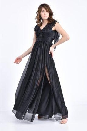 Modkofoni V Yaka Önden Yırtmaçlı Ve Simli Tül Siyah Abiye Elbise
