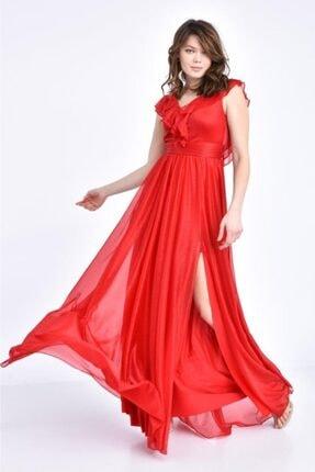 Modkofoni V Yaka Önden Yırtmaçlı Ve Simli Tül Kırmızı Abiye Elbise
