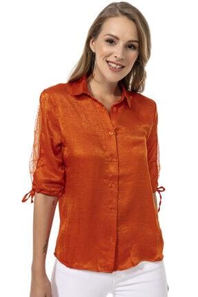 Modagusto Turuncu Tül Detaylı Gömlek