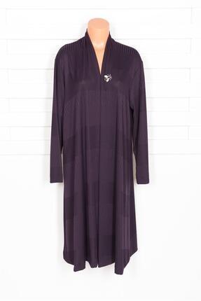Defrina Kadın Mor Geçişli Arı Broşlu Ceket