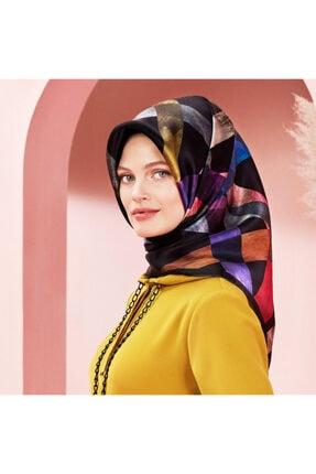 Armine Kadın Siyah Desenli Polyester Twill Eşarp 8105pv36