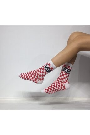ADEL ÇORAP Unisex Kırmızı Desenli Penye Çorab