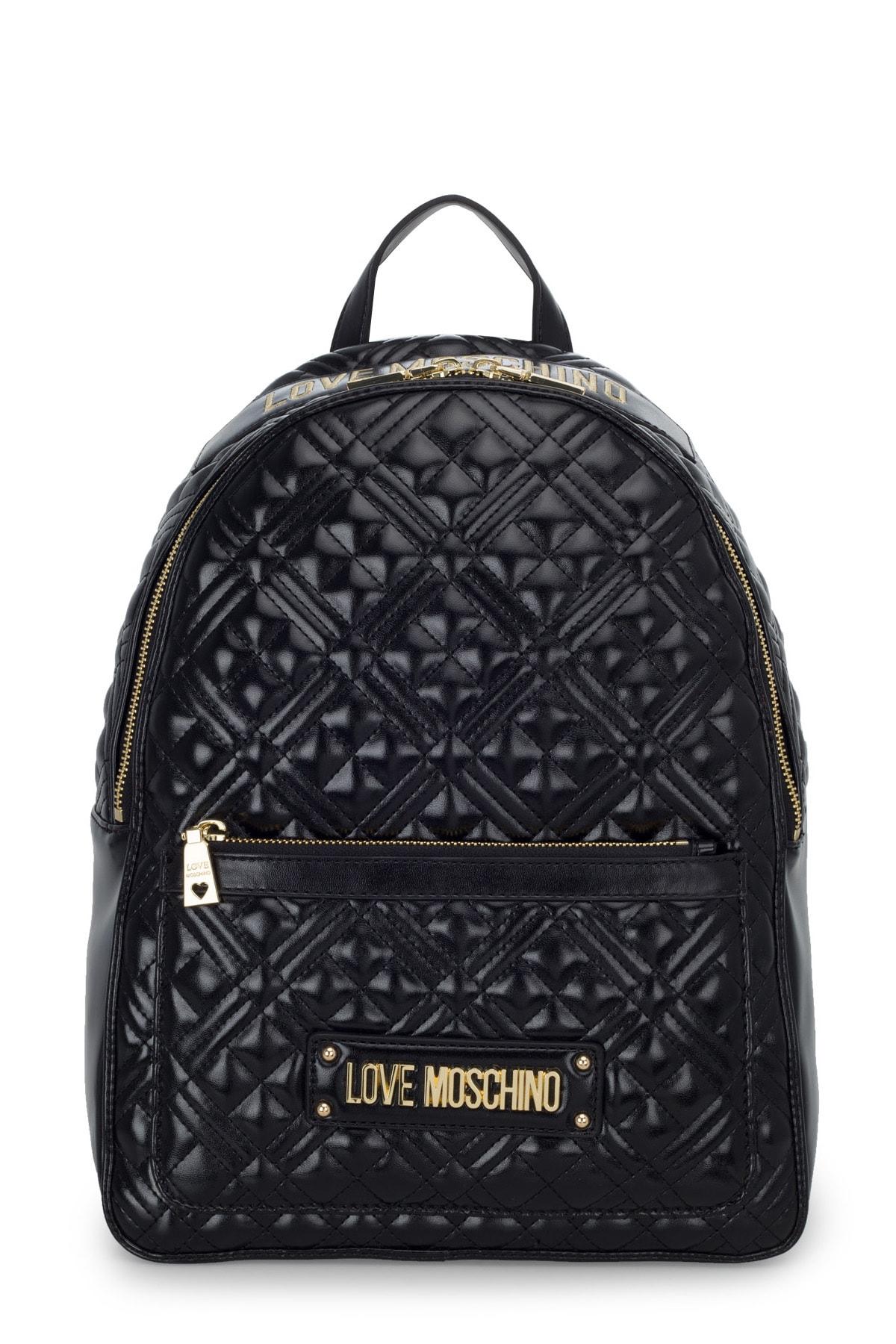 Love Moschino Kadın Siyah Logo Baskılı Ayarlanabilir Askılı Çanta Jc4007pp1bla0000 1