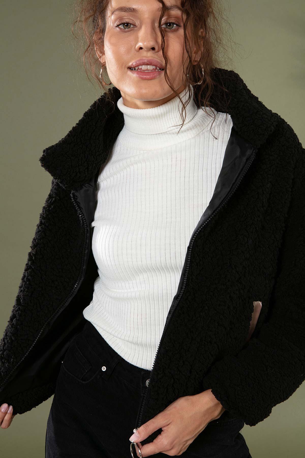 Y-London Kadın Siyah Peluş Kuzu Ceket 10358 Y19W126-10358 2