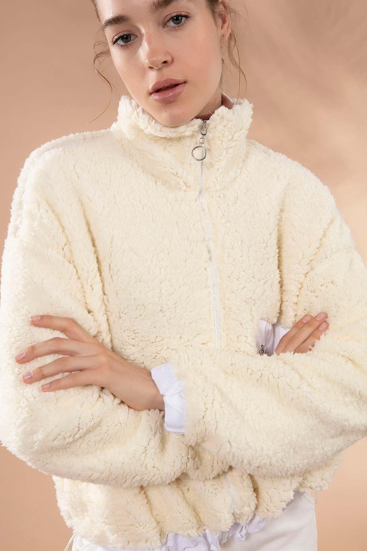 Y-London Kadın Bej Önü Fermuarlı Cepli Kuzu Ceket Y19W127-10420 2
