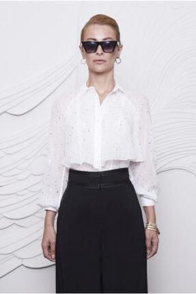 Arzu Kaprol Kadın Beyaz Volan Yakalı Desenlı Bluz