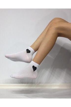 ADEL ÇORAP Kadın Siyah Kalpli Çorap