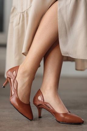 Mio Gusto Violetta Taba Kısa Topuklu Ayakkabı