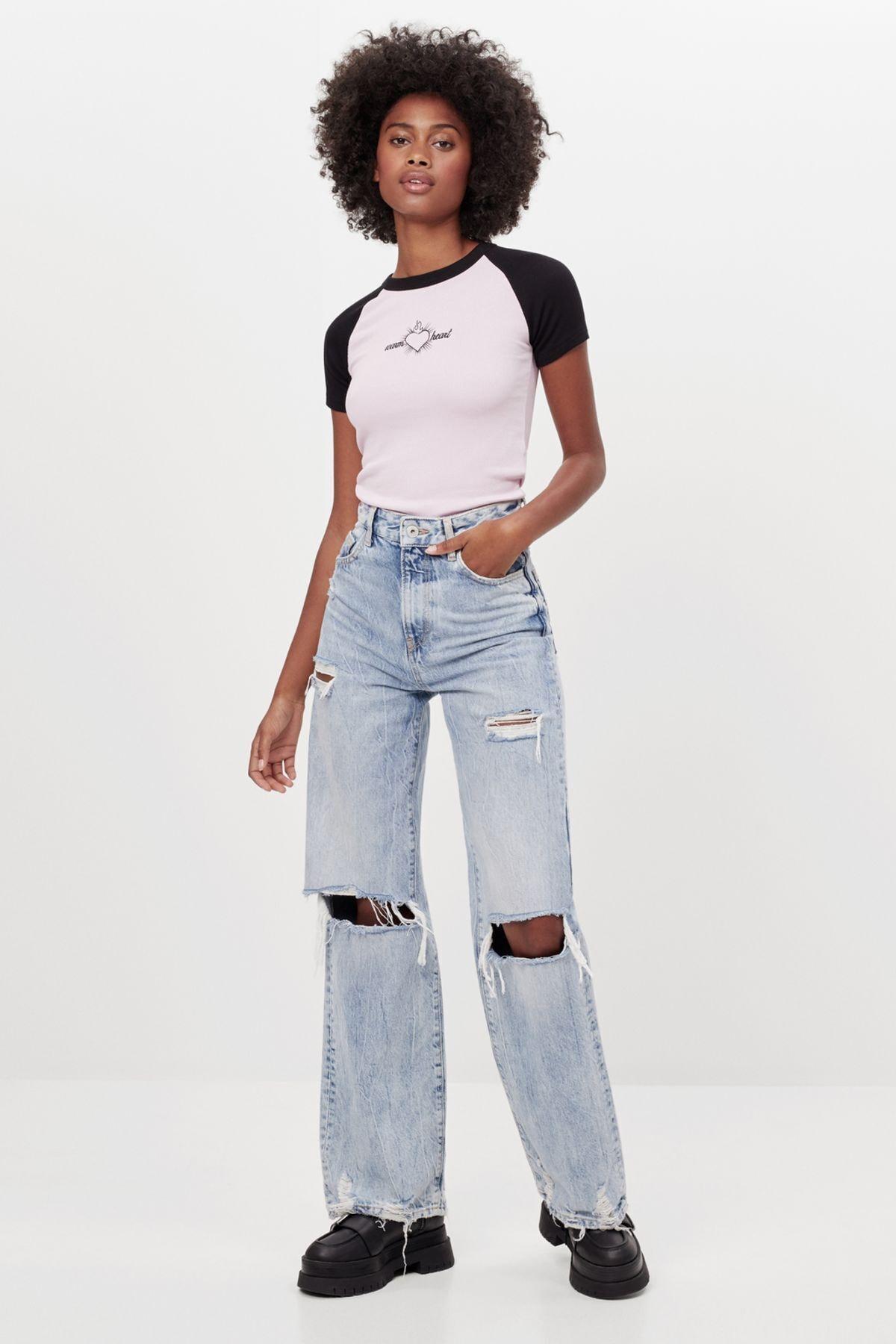 Bershka Kadın Mavi Distressed Detaylı 90'lar Model Jean 1