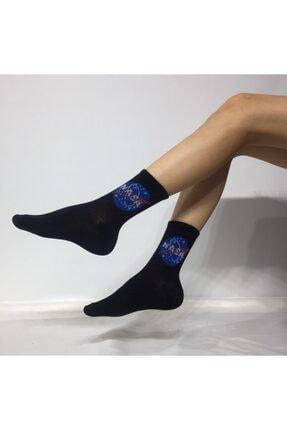 ADEL ÇORAP Unisex Siyah Penye Kolej Çorabı
