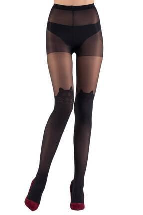 Mite Love Kadın Siyah Kedi Desenli 15 Denye Külotlu Çorap