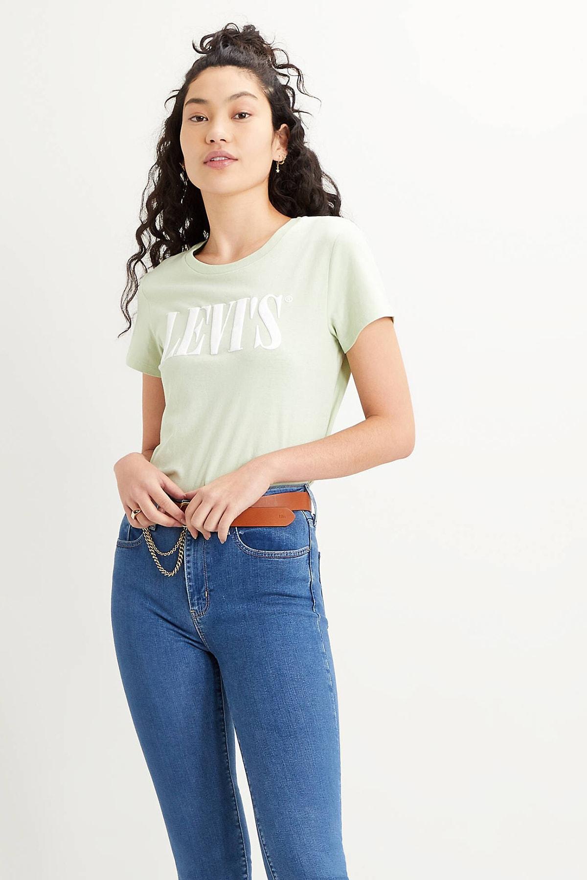 Levi's Kadın Yeşil Logo Baskılı Bisiklet Yaka Pamuk T Shirt 1