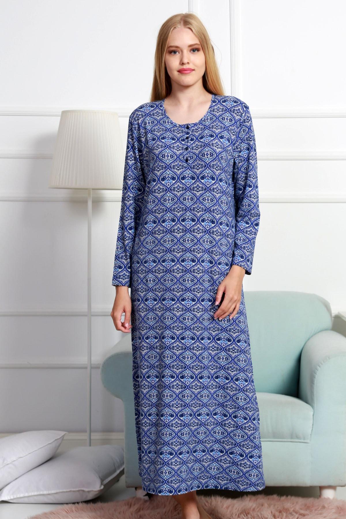VİENETTA Kadın Lacivert Uzun Kol Normal Beden  Ev Elbisesi 1
