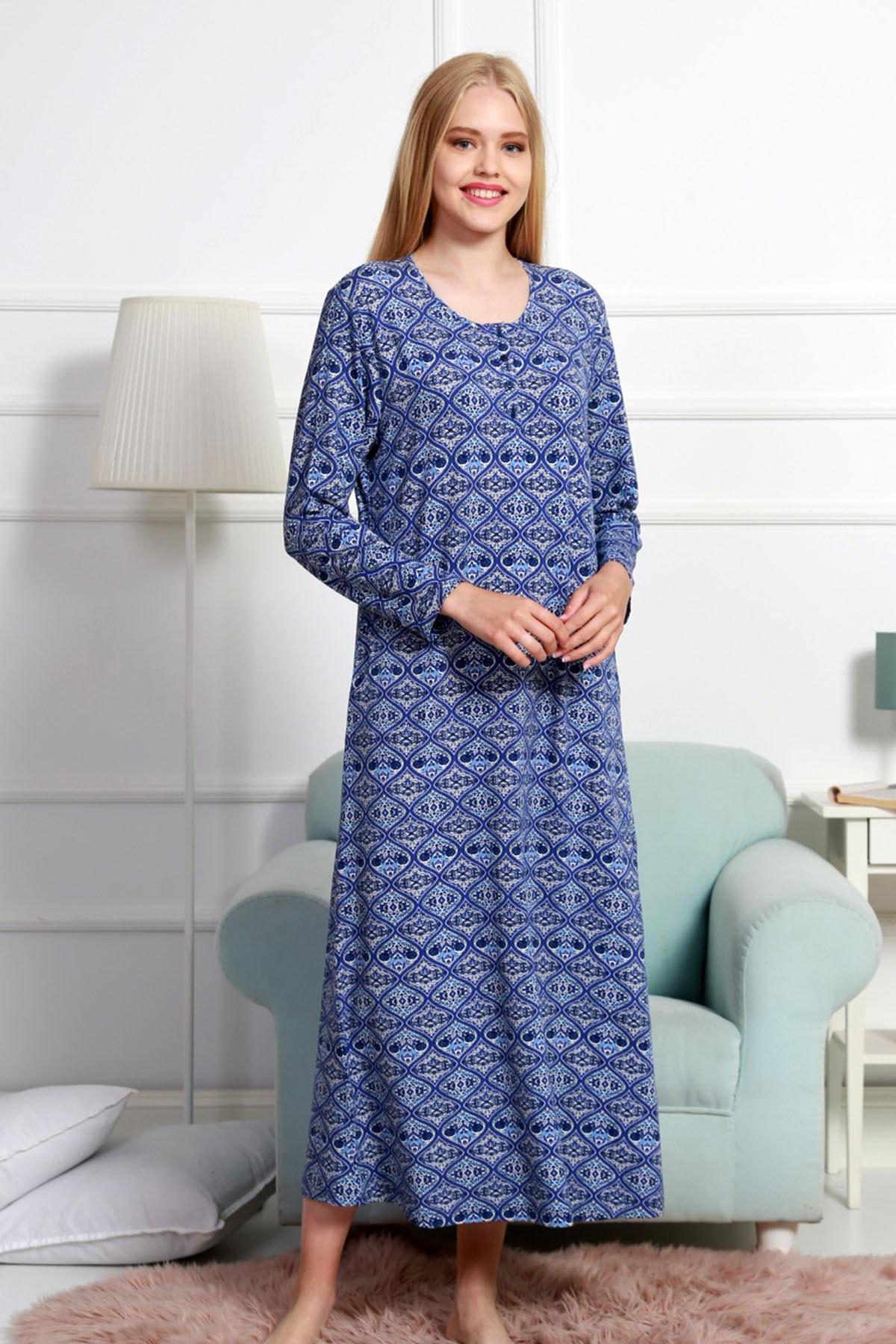 VİENETTA Kadın Lacivert Uzun Kol Normal Beden  Ev Elbisesi 2