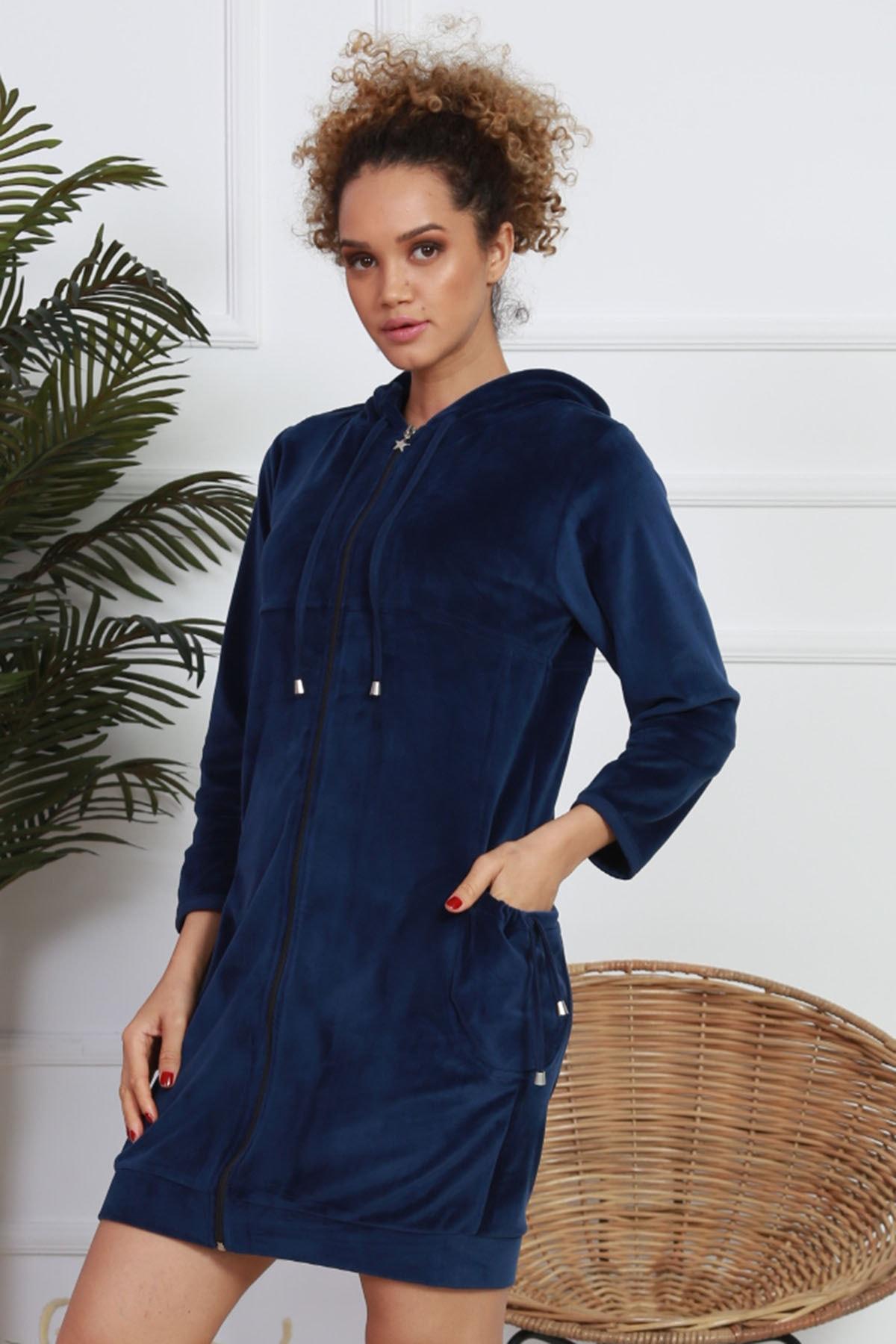 VİENETTA Kadın Lacivert Lycralı Kadife Kapşonlu Uzun Kol Ev Elbisesi 1