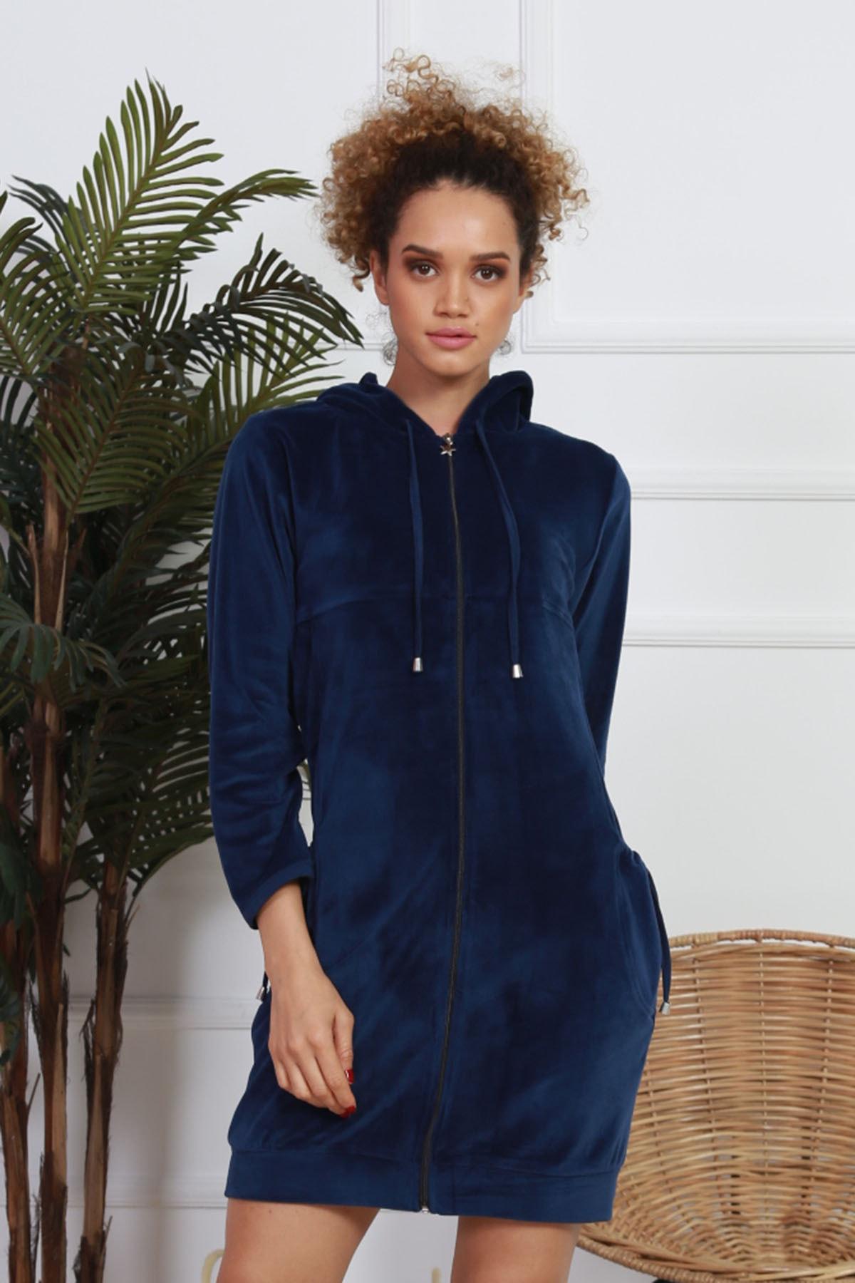 VİENETTA Kadın Lacivert Lycralı Kadife Kapşonlu Uzun Kol Ev Elbisesi 2